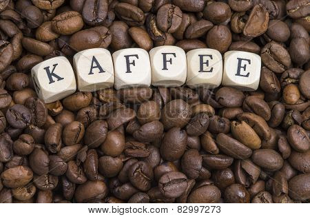 Coffee beans with letters