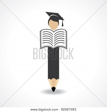 Student design with pencil and wear graduation cap with reading book concept vector