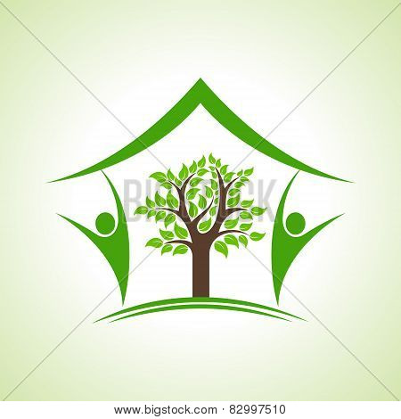 Eco home icon with tree and persons, vector illustration
