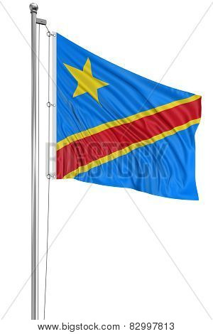3D flag of Democratic Republic of the Congo