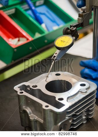 Operator Inspection Automotive Parts By High Gauge