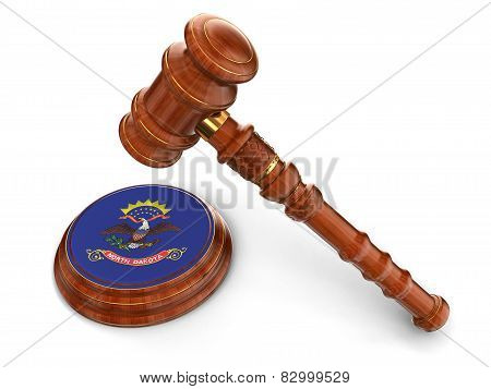 Wooden Mallet and flag Of North Dakota (clipping path included)