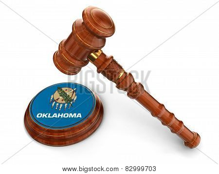 Wooden Mallet and flag Of Oklahoma (clipping path included)