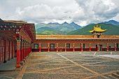 image of tibetan  - vintage style photo of beautiful courtyard of Tibetan buddhist monastery in Xiancheng China - JPG