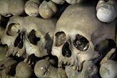 pic of eye-sockets  - old bones and skulls in the Gothic vault of Kutna Hora - JPG