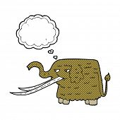 picture of mammoth  - cartoon woolly mammoth with thought bubble - JPG