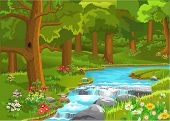 picture of flow  - stream flowing through the forest - JPG
