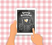 pic of yesteryear  - Chalkboard breakfast menu displayed on the tablet pc - JPG
