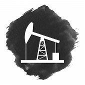 stock photo of derrick  - Oil derrick icon - JPG