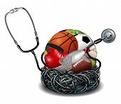 picture of medical  - Sports medicine concept and athletic medical care symbol as a doctor stethoscope tangled around a group of sport equipment icons for soccer football basketball and baseball - JPG