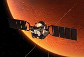 stock photo of orbital  - Interplanetary Space Station Orbiting Planet Mars - JPG