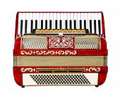 stock photo of outdated  - musical instrument red accordion outdated device white background - JPG