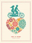 foto of tandem bicycle  - Vector abstract decorative circles couple on tandem bicycle heart silhouette frame pattern greeting card template graphic design - JPG