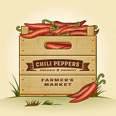 stock photo of chili peppers  - Retro crate of chili peppers - JPG