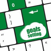 image of goal setting  - Goals setting button on keyboard with soft focus - JPG