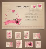 foto of greeting card design  - Vintage postcard background and Postage Stamps  - JPG