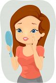 picture of pimples  - Illustration of a Girl Stressing Over the Pimple on Her Cheek - JPG