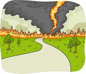 pic of fire  - Illustration of a Tornado Fire Ravaging a Country Road - JPG