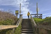 stock photo of stairway  - Pedestrian stairway to the beach Lincoln City Oregon - JPG