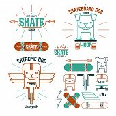 stock photo of t-shirt red  - Skateboard dog emblems and icons - JPG