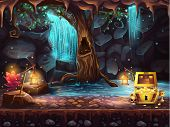 image of waterfalls  - Illustration fantasy cave with a waterfall a tree and a treasure chest - JPG