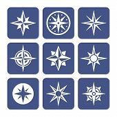 stock photo of compass rose  - Compass Icons Set - JPG