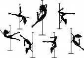 foto of pole dancer  - Vector illustration of pole dancers silhouettes in different poses - JPG