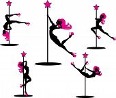 image of pole dancer  - Vector illustration of pole dancers silhouettes in different poses - JPG