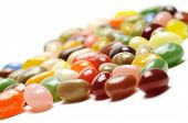 pic of jelly beans  - fruit jelly beans close up on white background - JPG