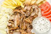 foto of gyro  - Fresh and tasty Greek gyros plate closeup - JPG