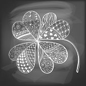 foto of four leaf clover  - Four leaf decorative clover filled with hand - JPG
