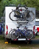 picture of campervan  - camper with bicycles on a camping site - JPG