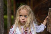 stock photo of national costume  - Little ukrainian girl in national costume  - JPG