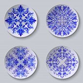 picture of plating  - Vector set of circular plates with blue lace floral pattern - JPG