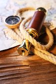 stock photo of spyglass  - Marine still life spyglass - JPG
