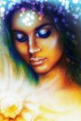 pic of airbrush  - A beautiful airbrush portrait of a young indian woman with closed eyes meditating upon a spiraling seashell with color bokeh and fractal effect - JPG