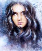 stock photo of face painting  - beautiful airbrush painting of an enchanting woman face with structure colour background - JPG