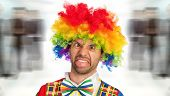 stock photo of clown face  - silly clown making a face - JPG