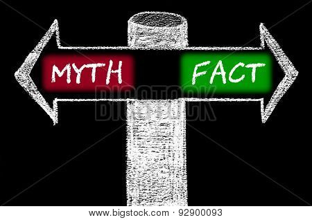 Opposite Arrows With Myth Versus Fact