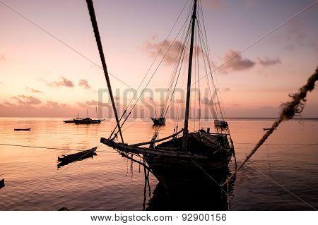 Boats at sunset in the Banda sea