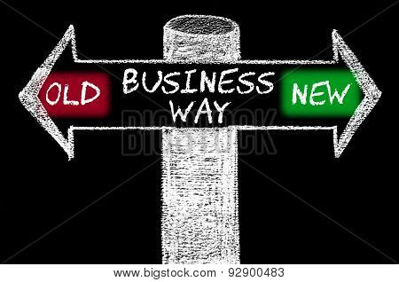 Opposite Arrows With Old Versus New Business Way