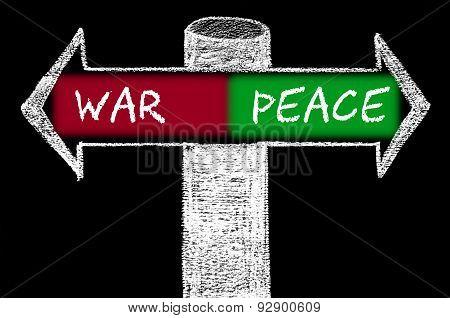 Opposite Arrows With War Versus Peace