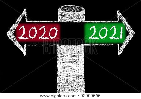 Opposite Arrows With Year 2020 Versus Year 2021
