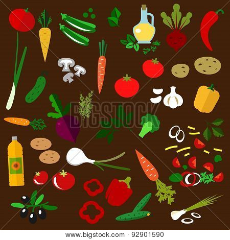 Ingredients of fresh vegetable salad