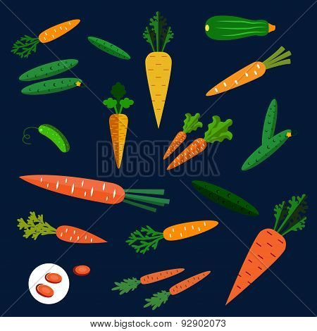 Healthy carrot and cucumber flat vegetables