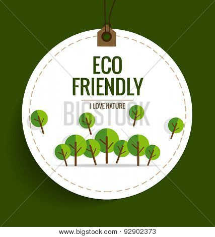 ECO FRIENDLY. Ecology concept with Nature banner and tree background. Vector illustration.