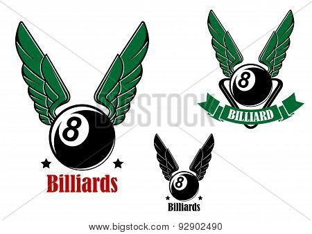 Winged eight billiard or pool ball