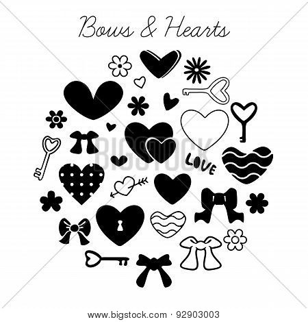 Set of bows and hearts