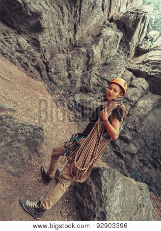 Climber Woman With Equipment
