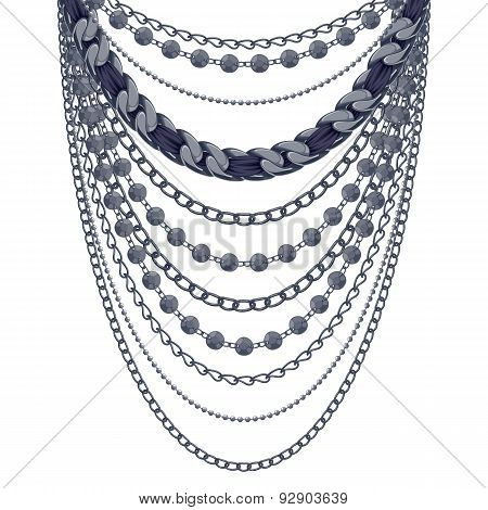 Many chains black metallic necklace.